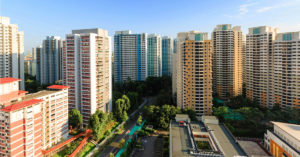 aerial view of geylang hdb town in singapore